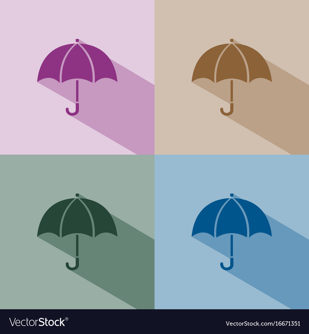 Umbrella icon with shade on winter colored