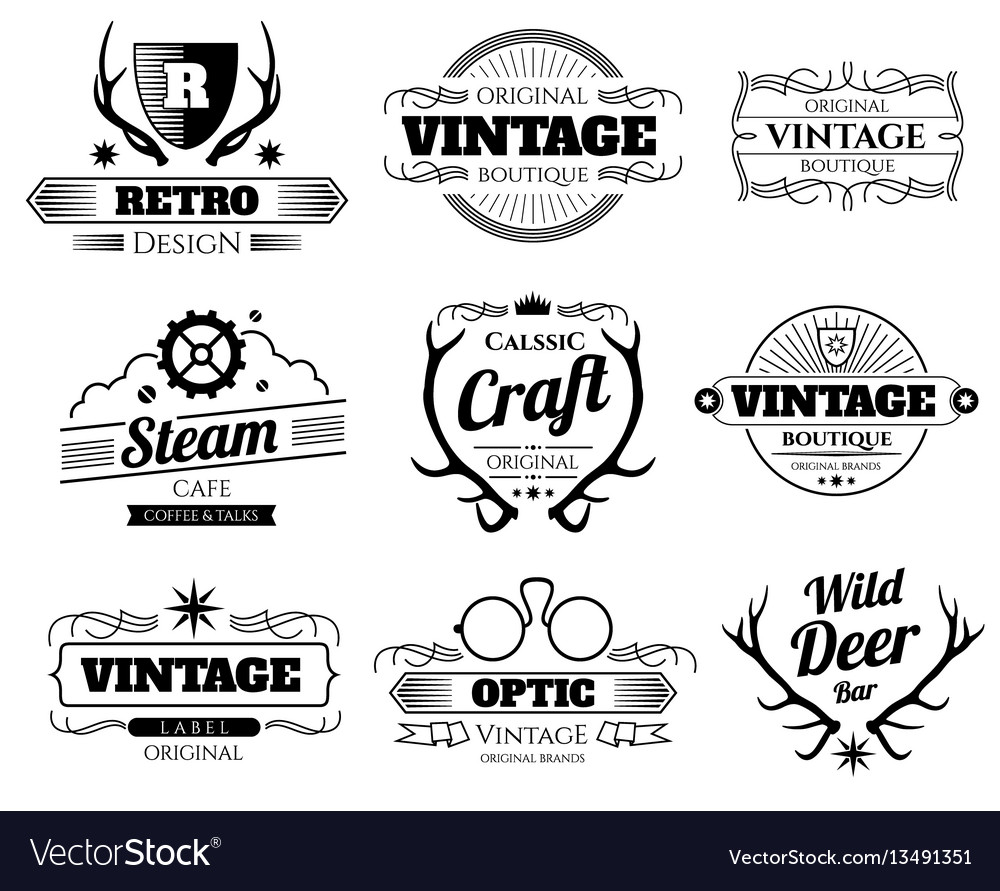 Vintage hipster logos and labels set