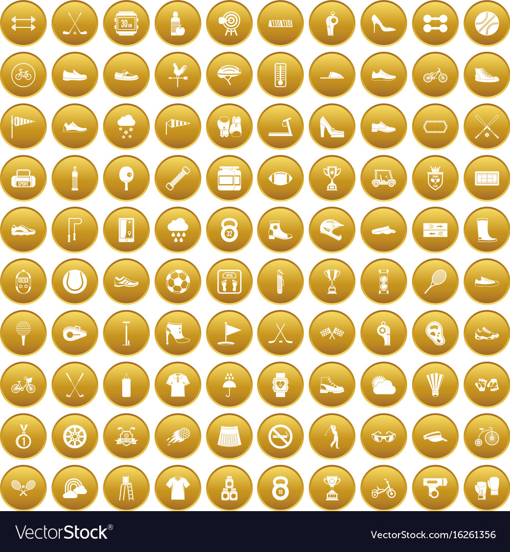100 sneakers icons set gold vector image