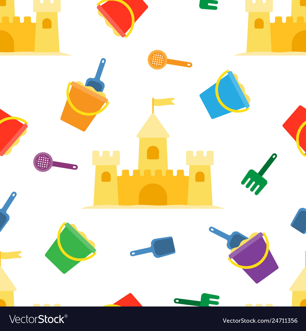 Beach summer seamless pattern with sand castle
