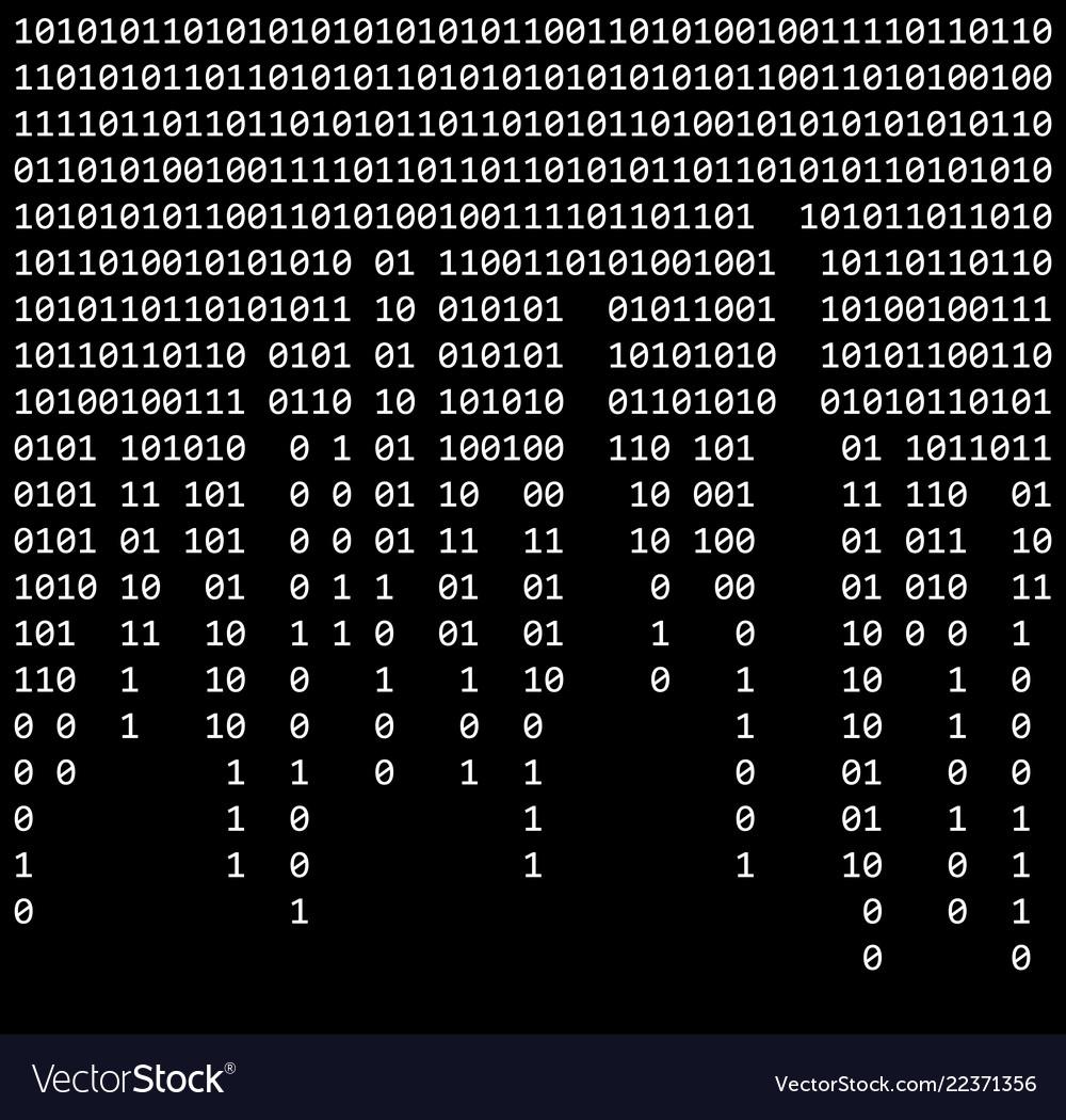 Binary code zero one matrix black background