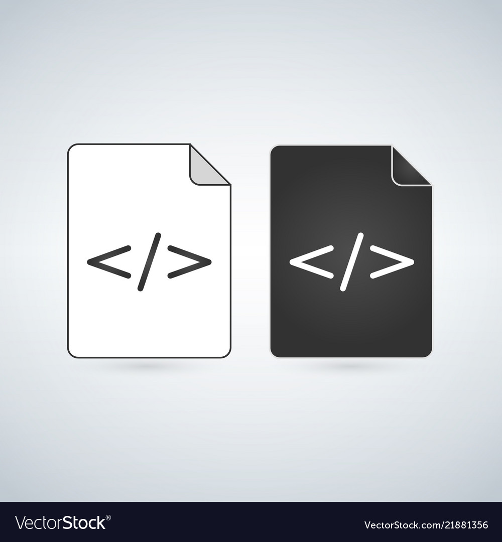 Black and white coding file icon isolated on