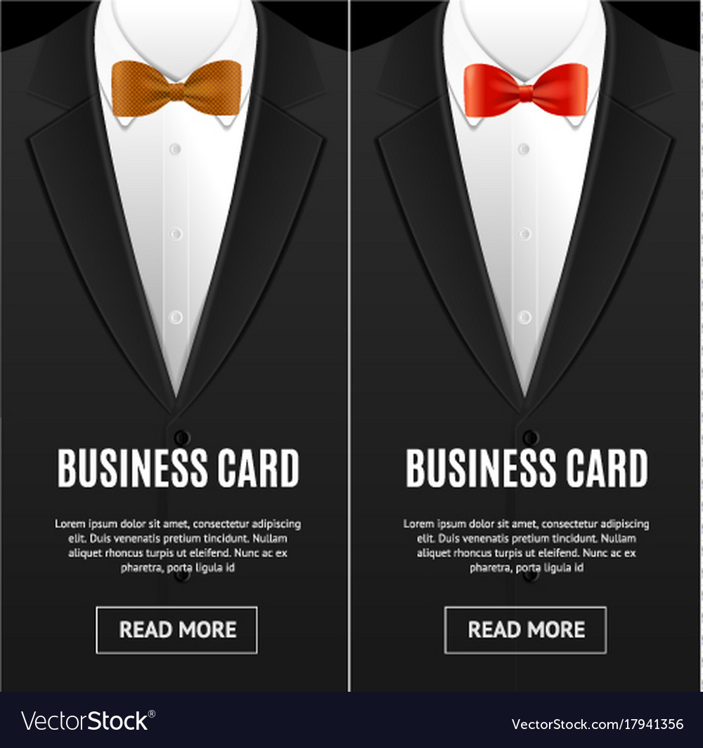 Business Card Bow Tie Set Vector Image