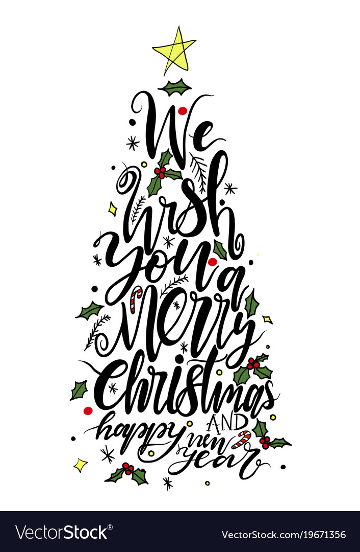 Calligraphy lettering of christmas tree