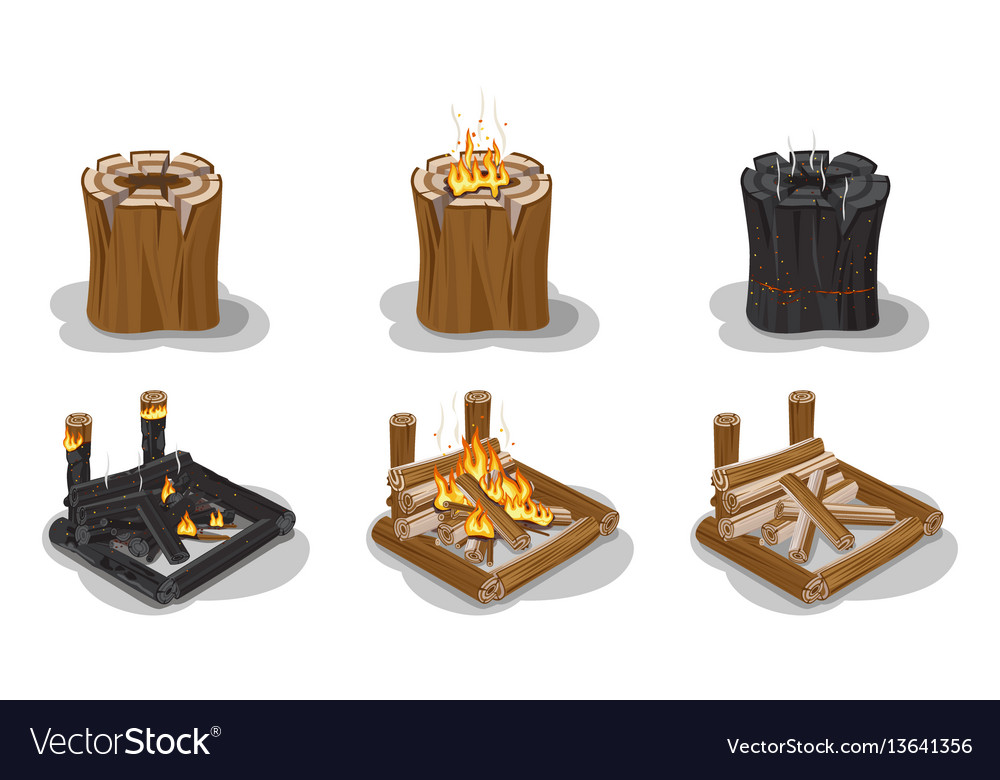 Campfire set isolated on white poster