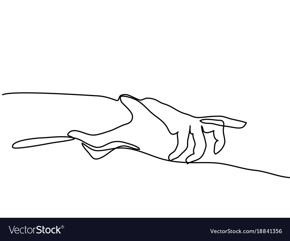 continuous line drawing of holding hands together vector image