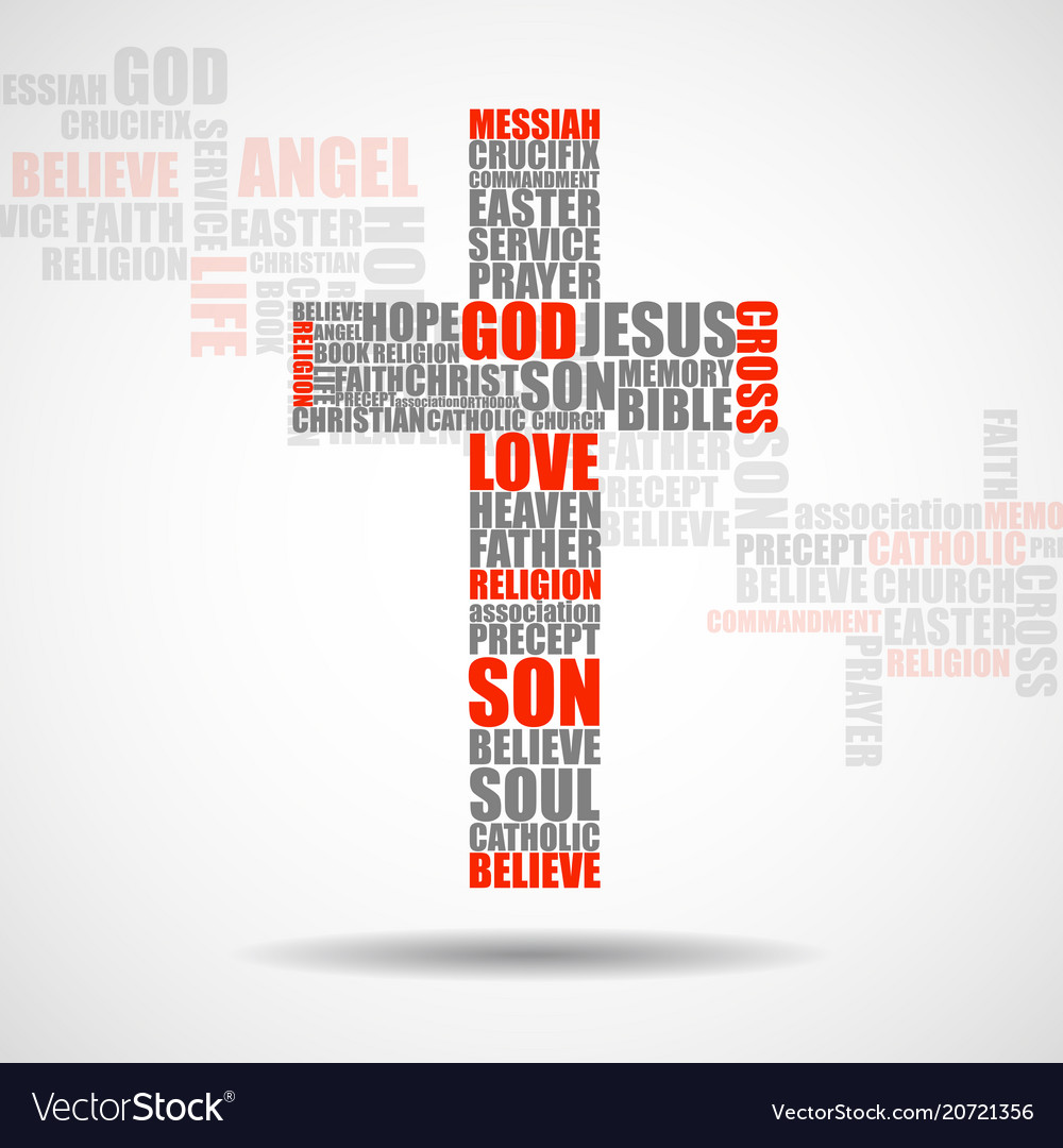 Cross of religious words