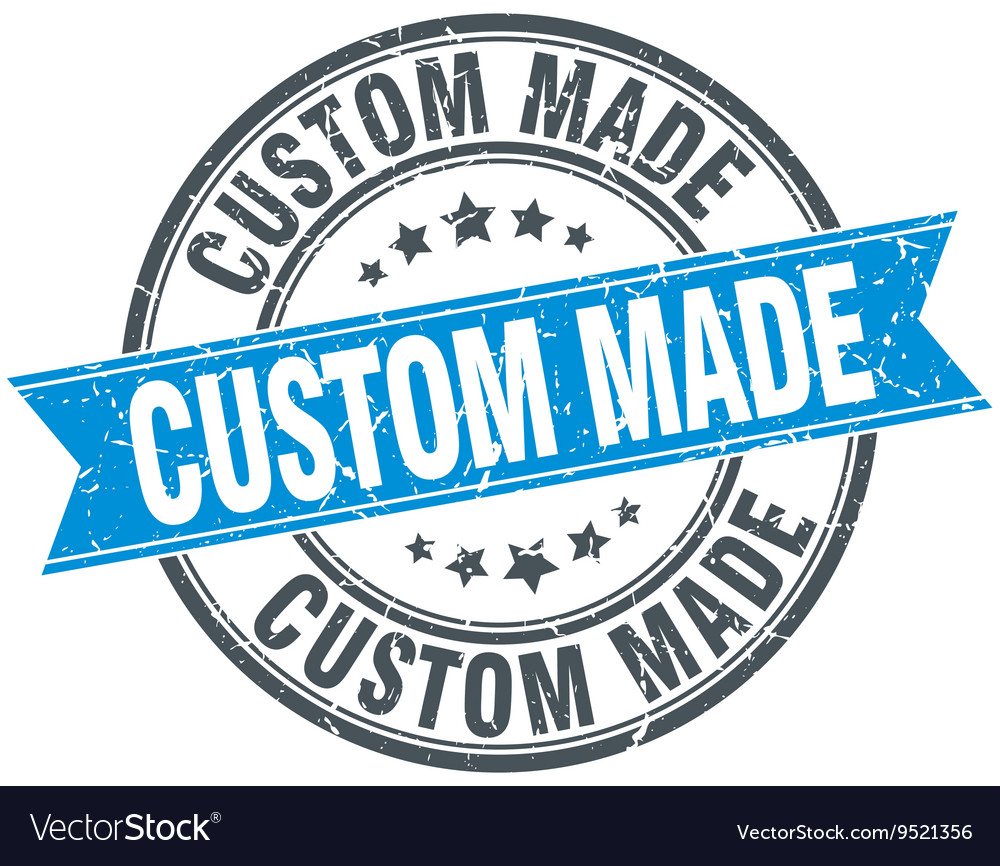 Custom made blue round grunge vintage ribbon stamp