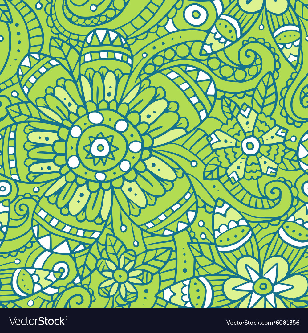 Green abstract seamless pattern with flowers