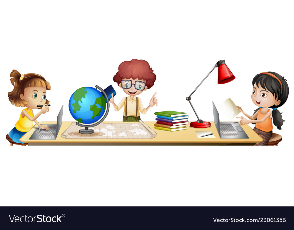 Isolated students learning on the table