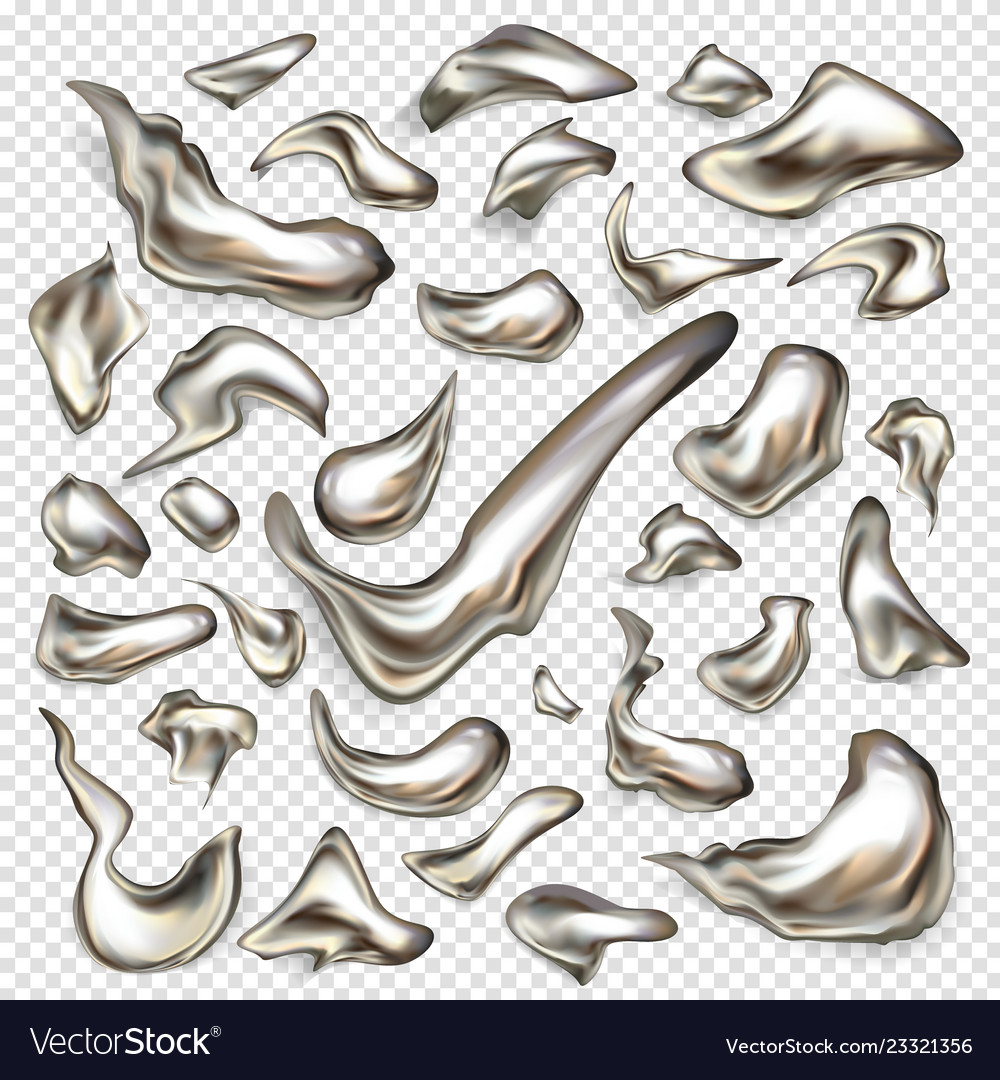Liquid Silver Liquid silver metal drops realistic set Royalty Free Vector