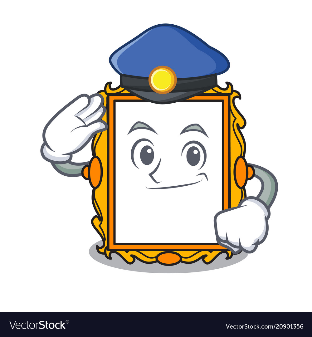 Police picture frame character cartoon Royalty Free Vector