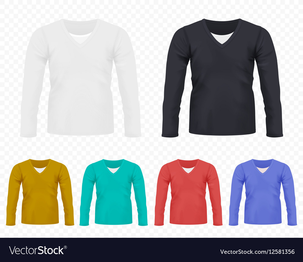 Realistic men t-shirt with long sleeves set