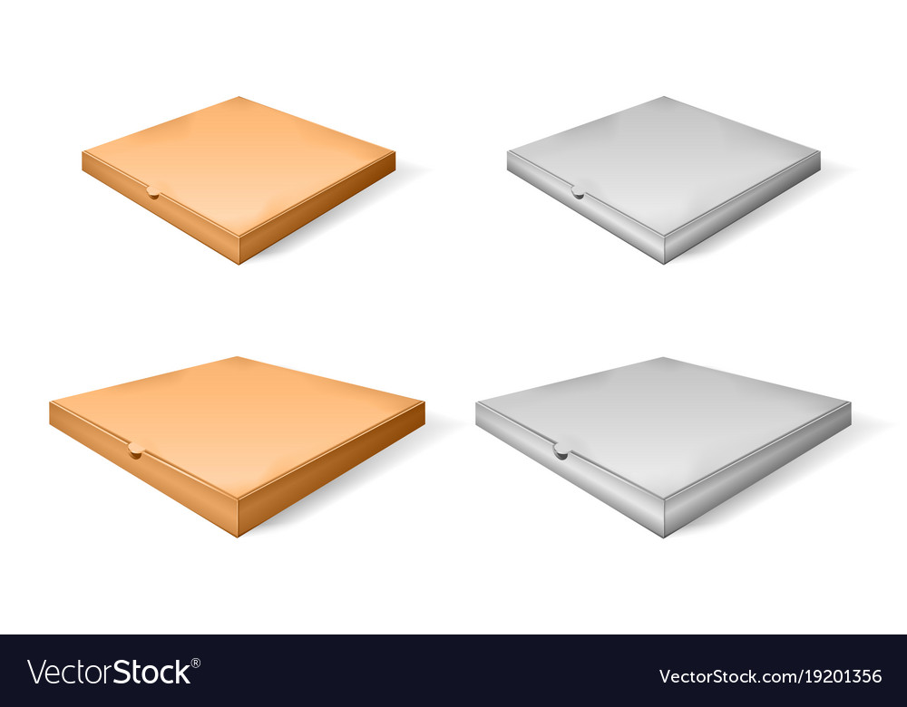 Set of brown cartoon and paper pizza box