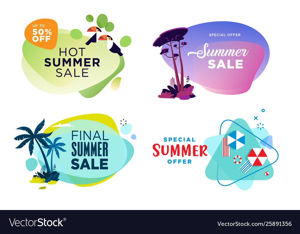 Set summer sale labels and stickers
