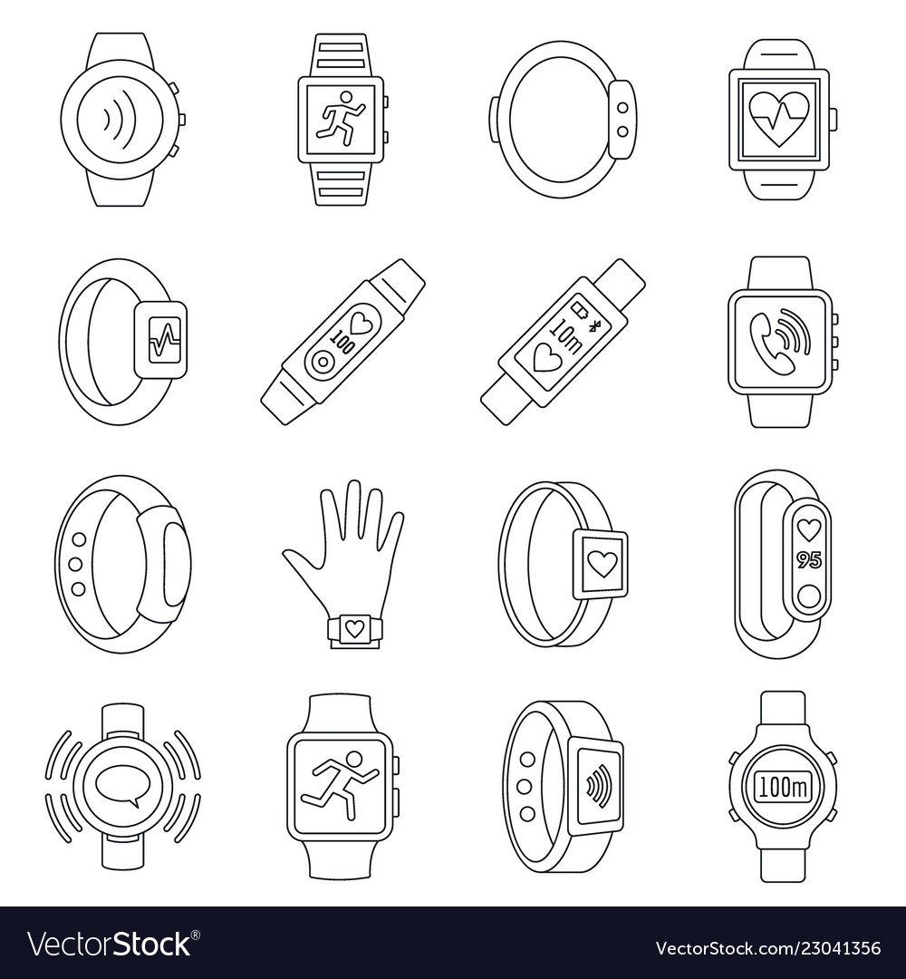 Sport fitness tracker icon set outline style