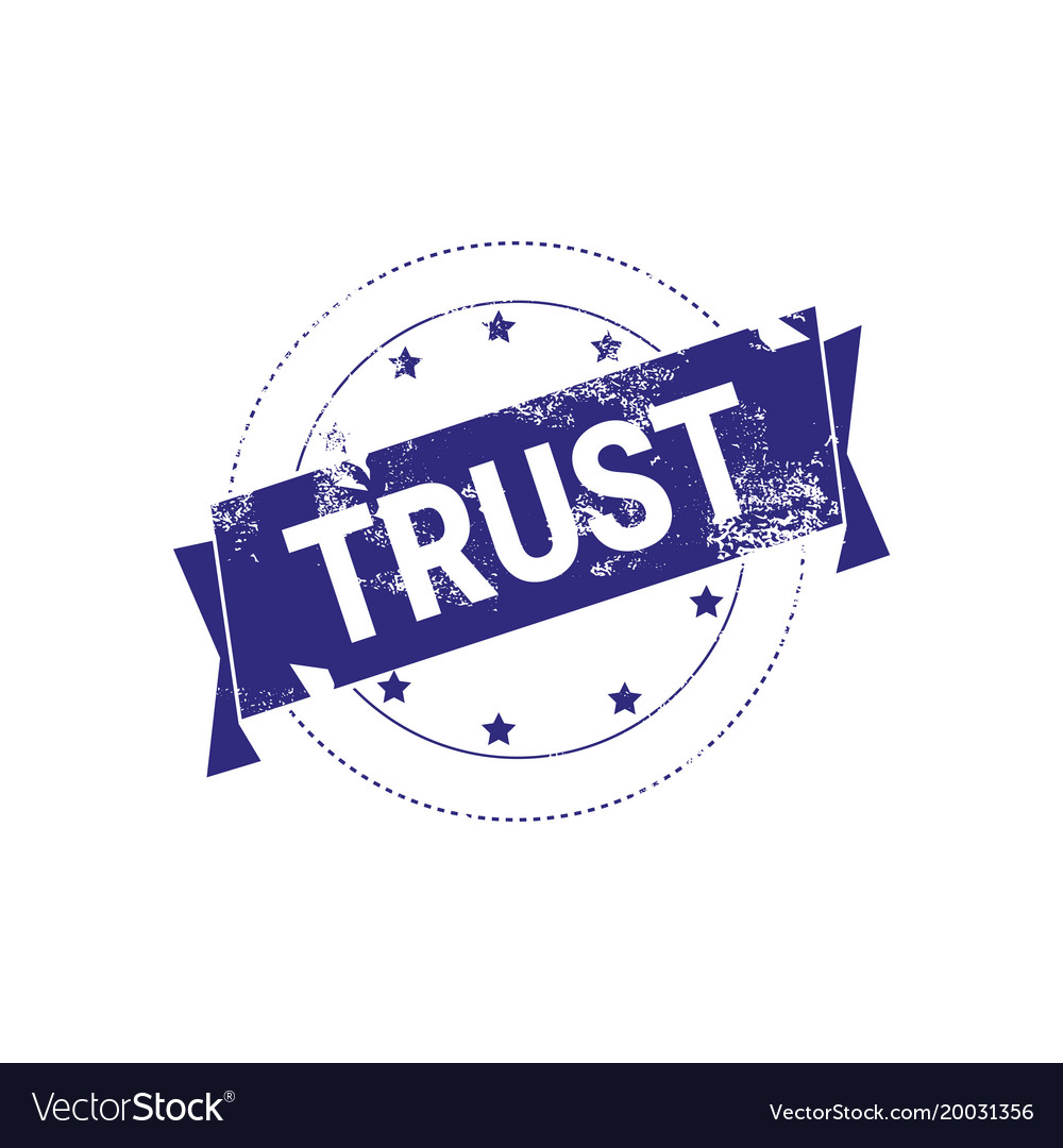 Trust guarantee stamp blue ink sign or badge icon