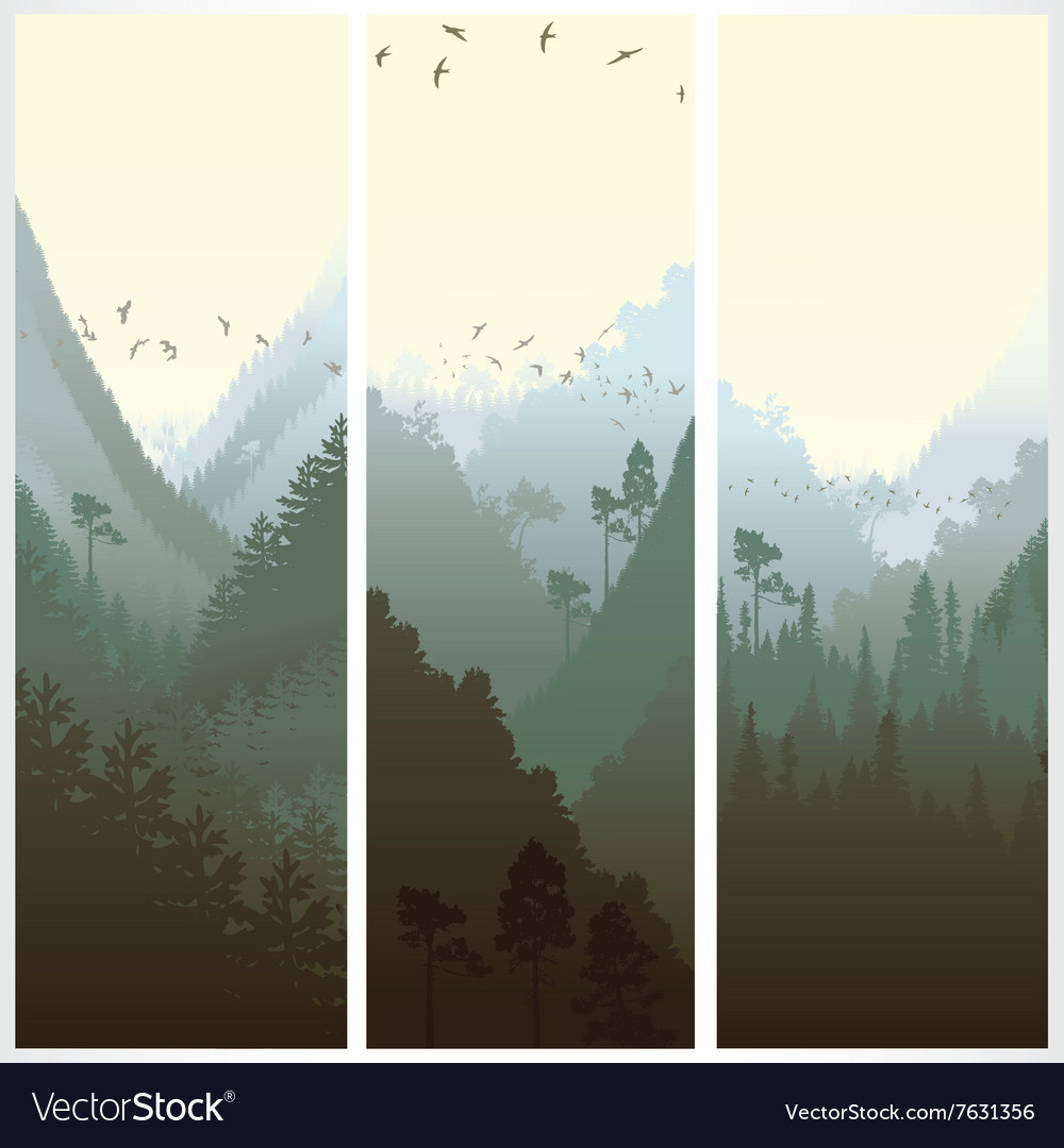 Vertical banners with the forest vector image