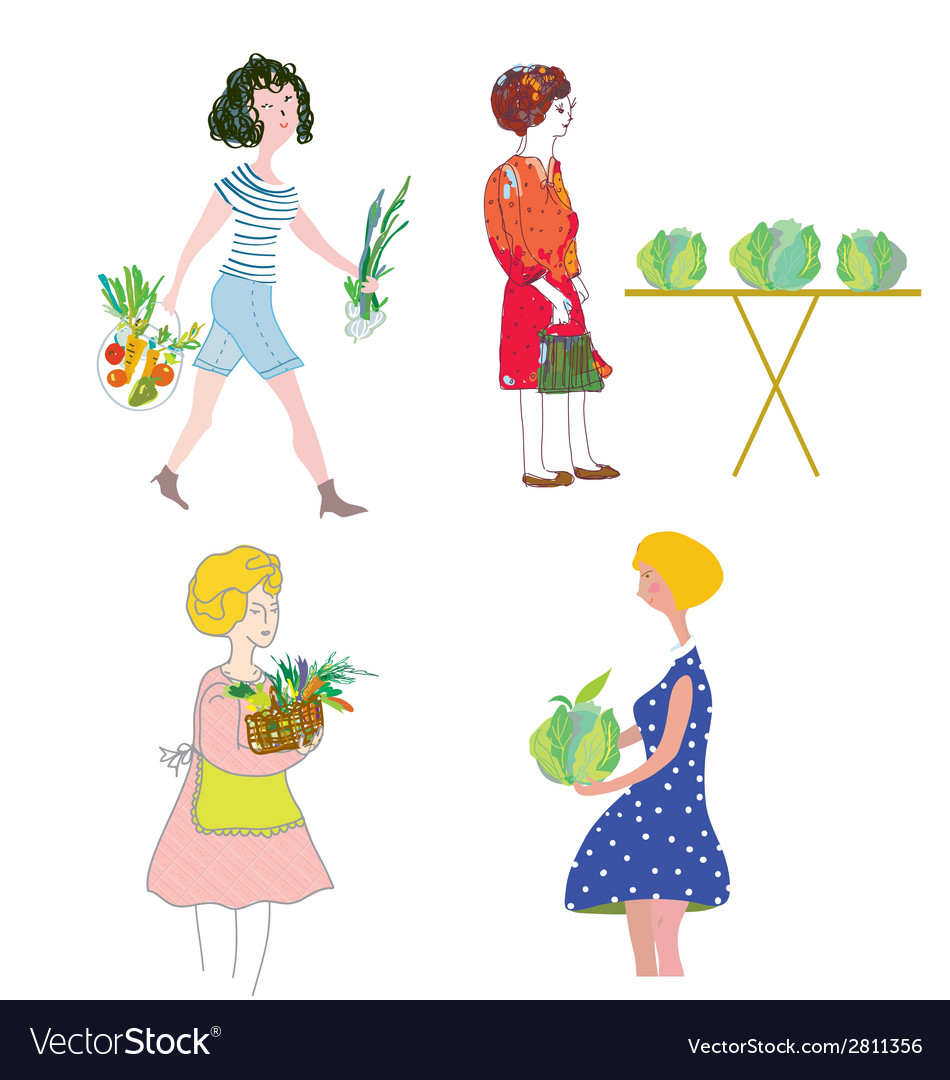 Women with vegetables shopping