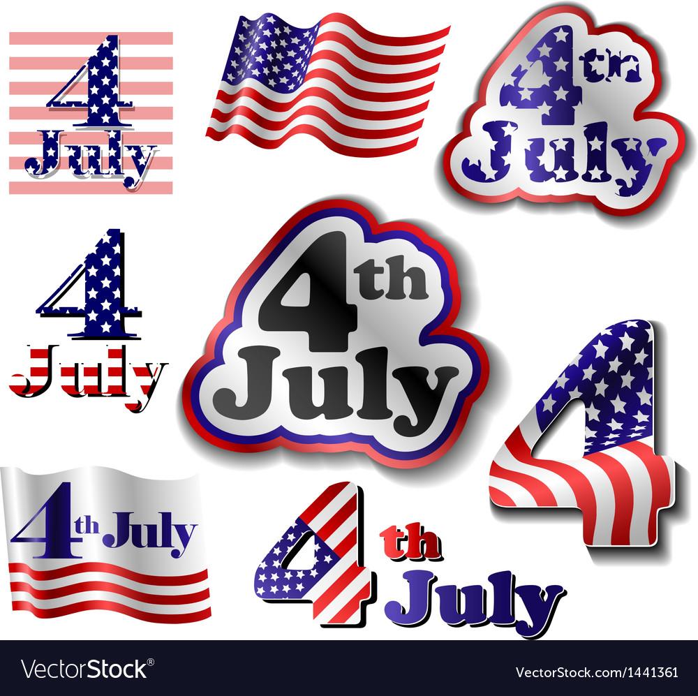 4 July sticker set