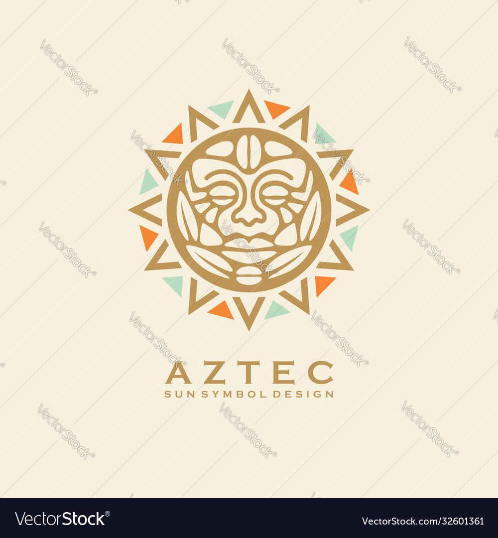 Aztec tribal sun symbol with human face