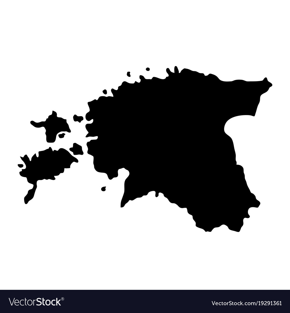 Black silhouette country borders map of estonia vector image gumiabroncs Gallery