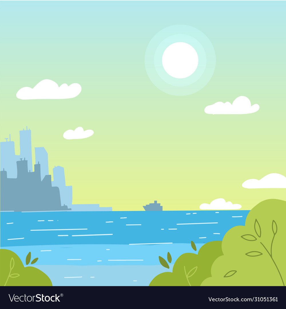 Cityscape view with sea background city landscape