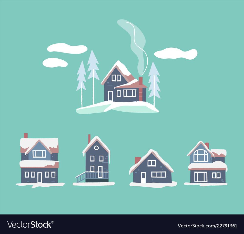 Cozy winter houses set snowy landscape