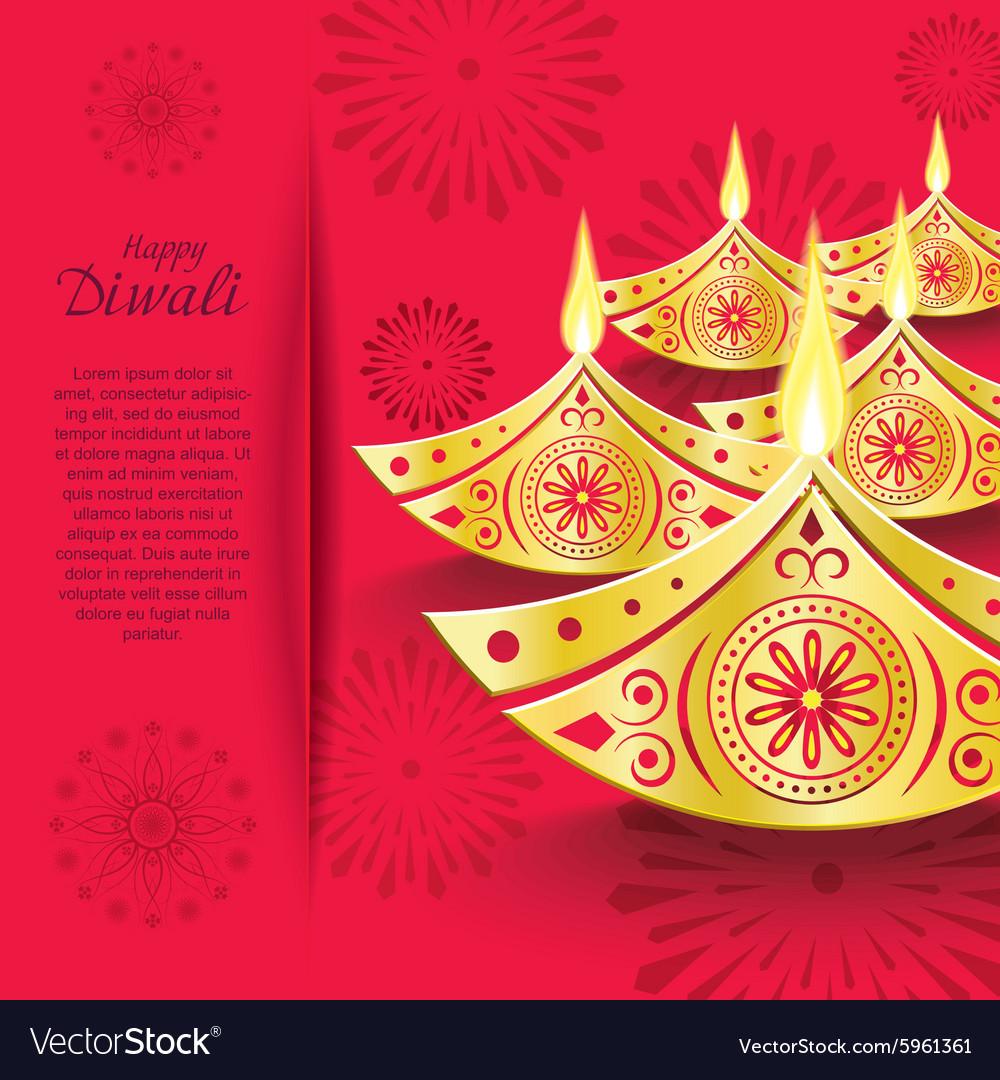 Creative design of burning diwali diya