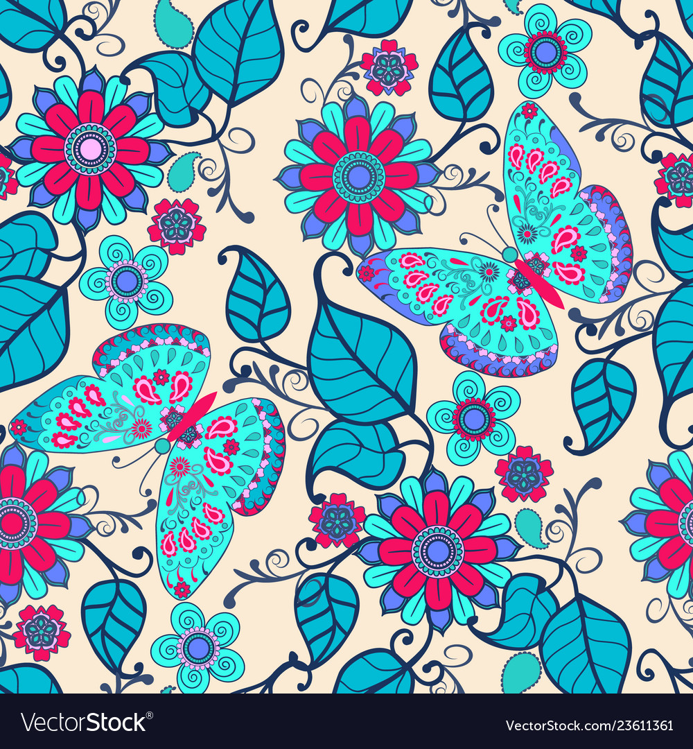 Decorative hand drawn background with floral