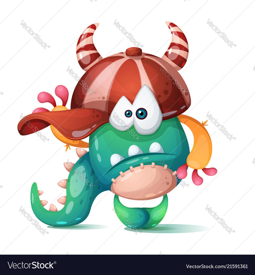 Funny cute crazy monster characters