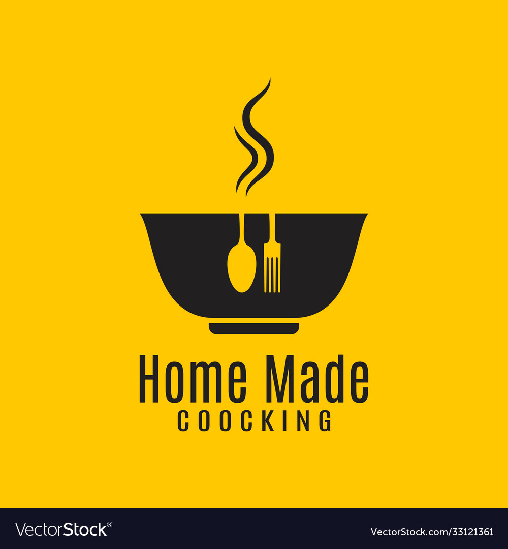 Home cooking logo on yellow in background vector