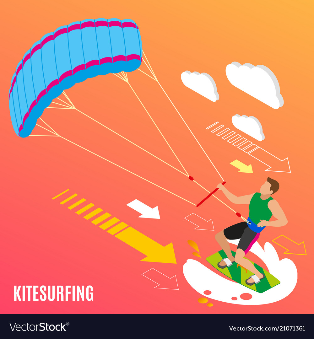 Kite surfing isometric background
