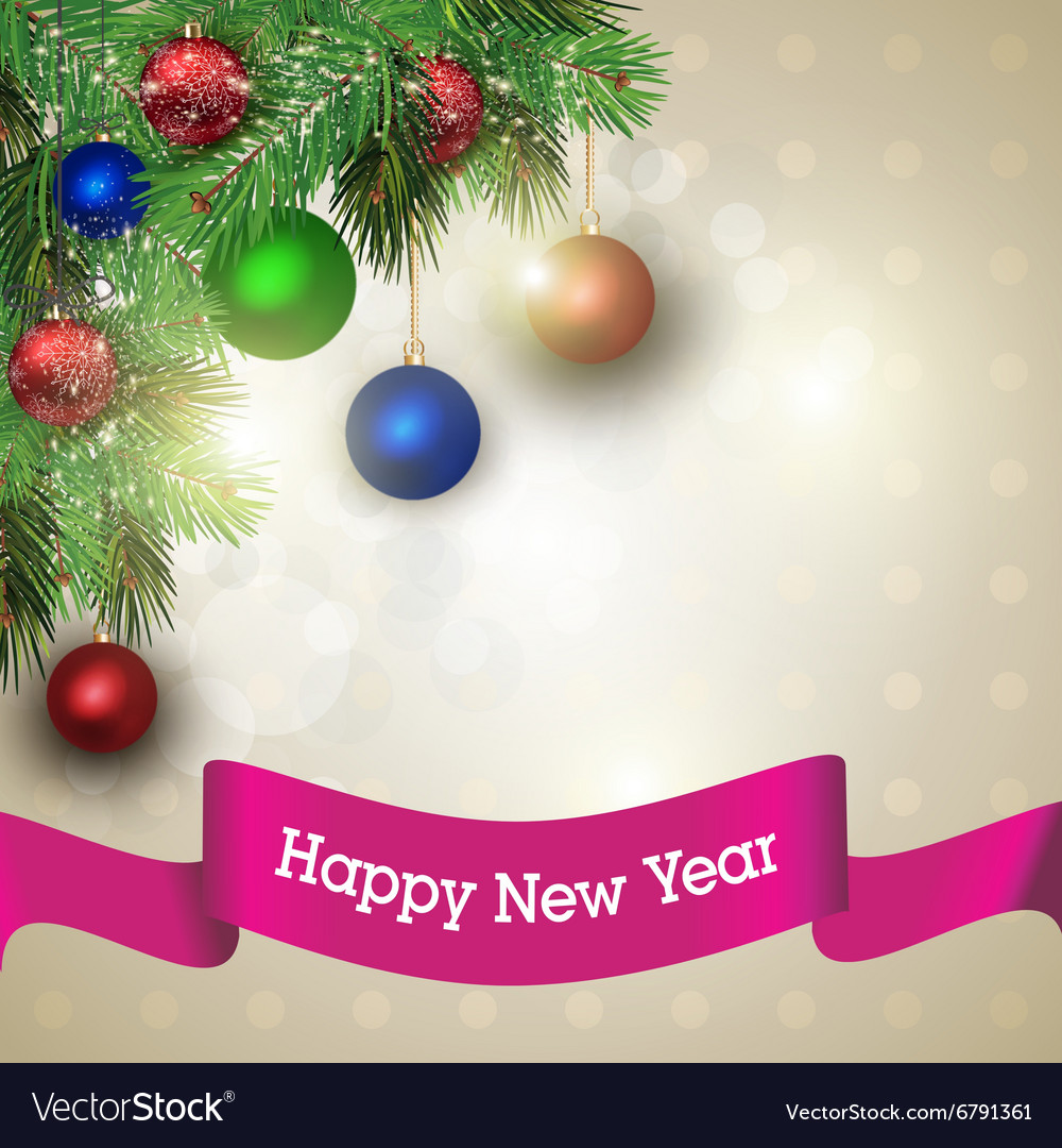 New year greeting card Light background