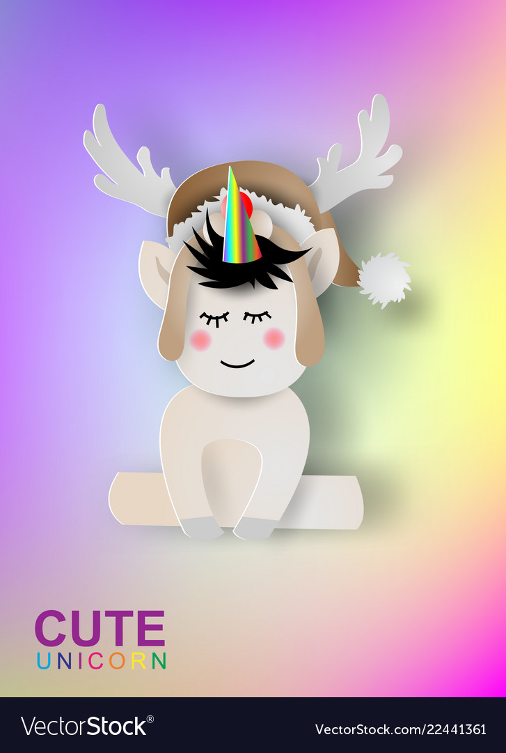 Paper art of cute unicorn rainbow color