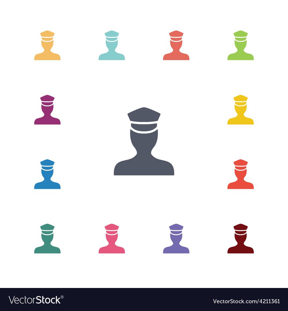 Policeman flat icons set