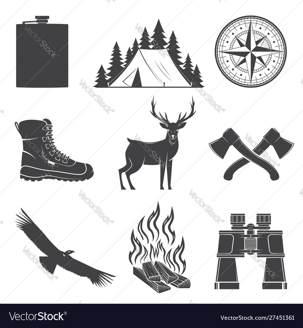 Set hiking and camping icons isolated on the