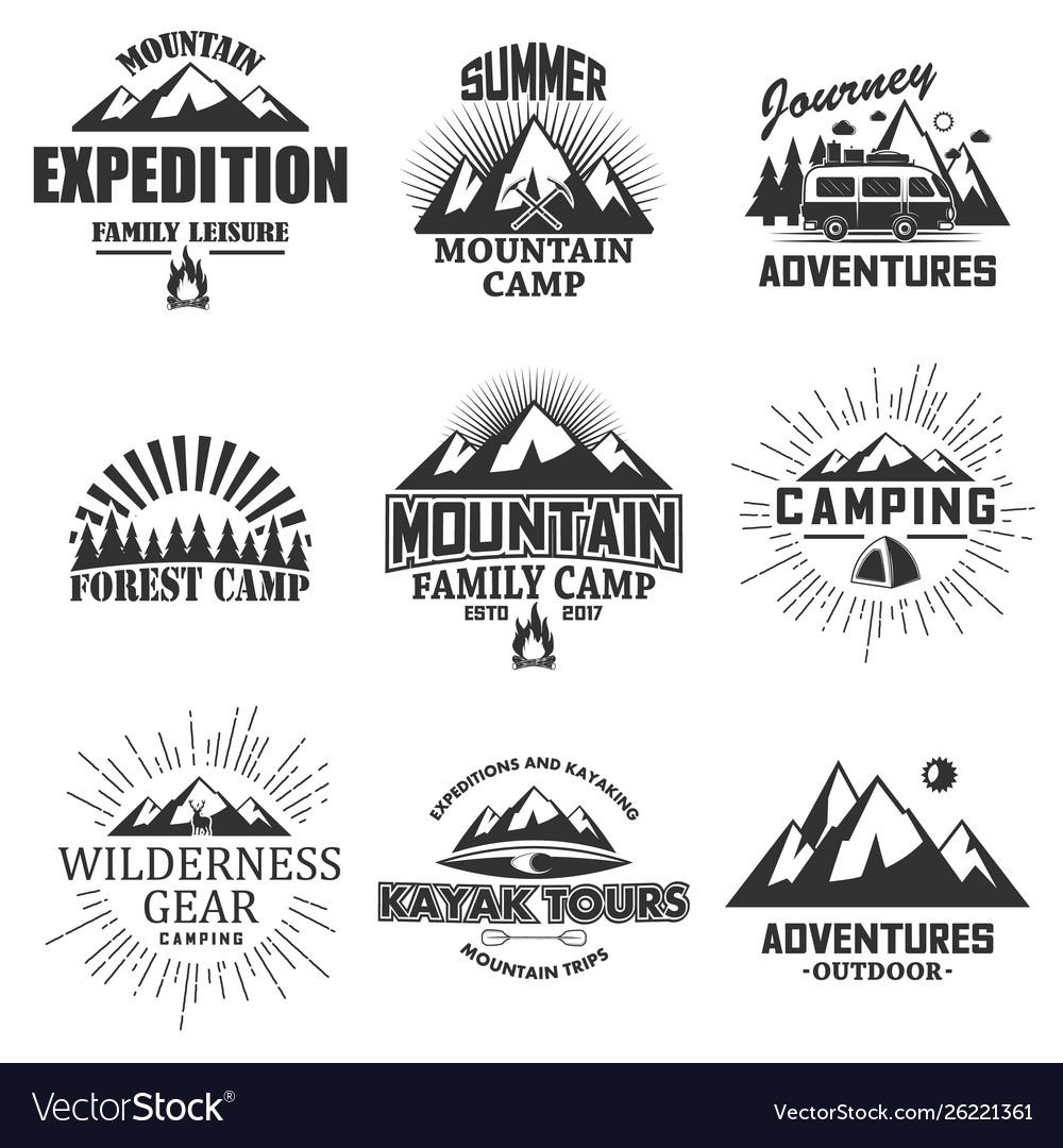 Set vintage outdoor label emblem badge