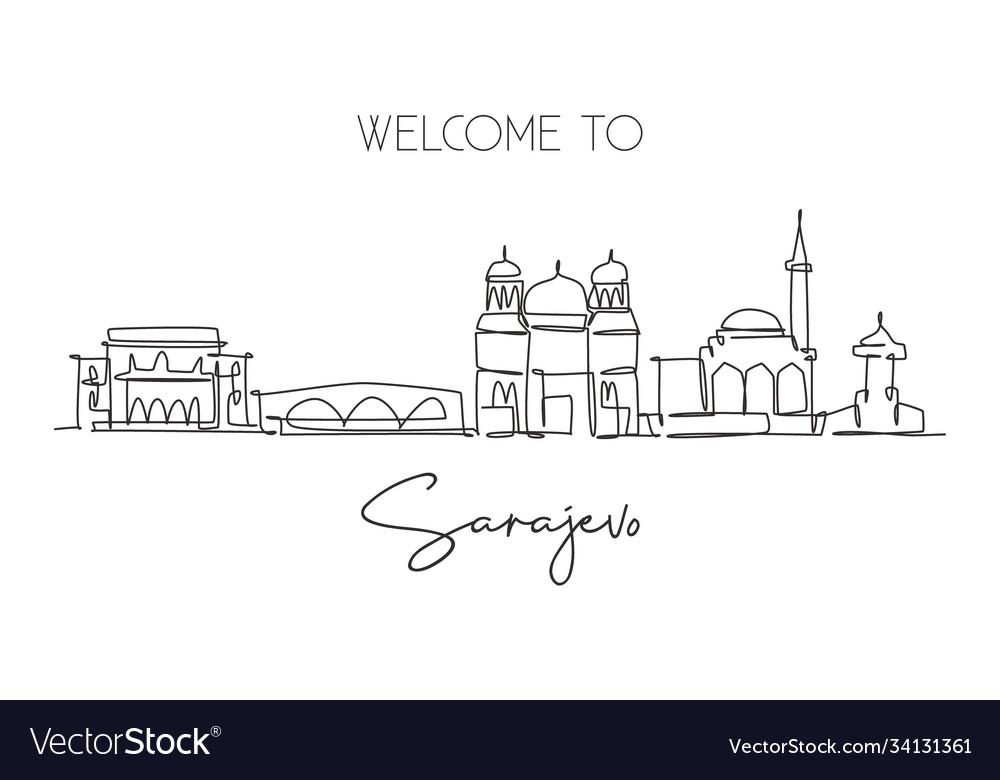 Single continuous line drawing sarajevo city