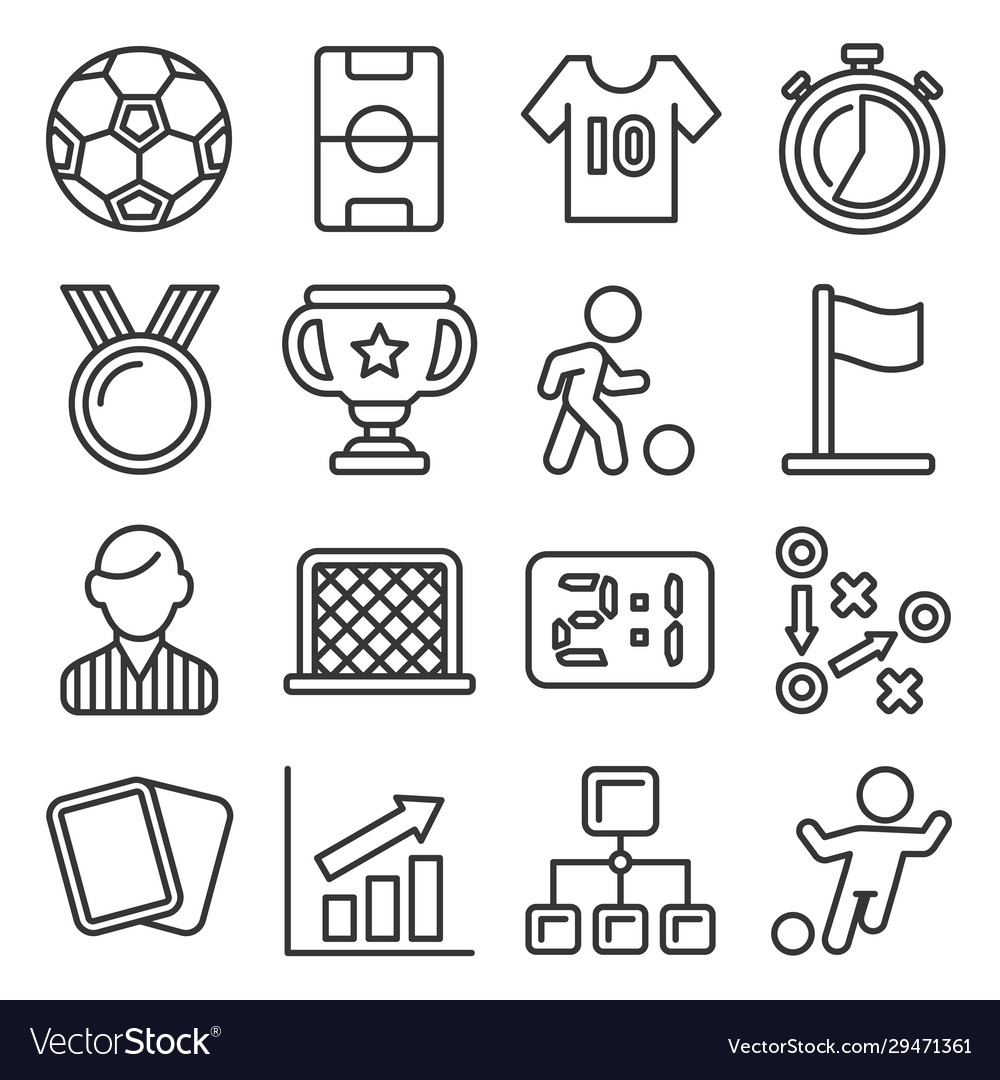 Soccer icons set on white background line style