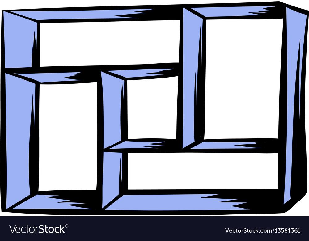 Wooden shelf icon cartoon