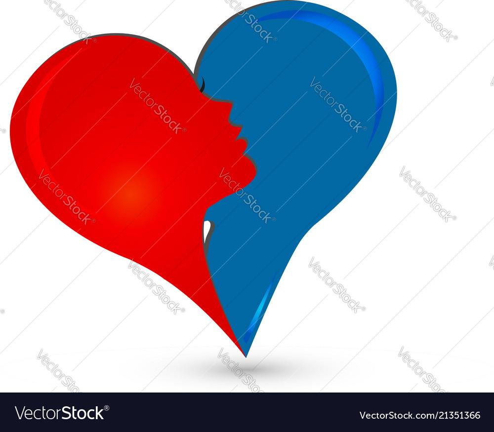 Abstract couple heart love logo