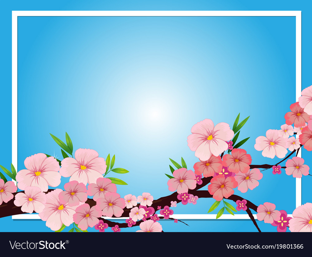 Border template with pink blossom flowers vector image mightylinksfo