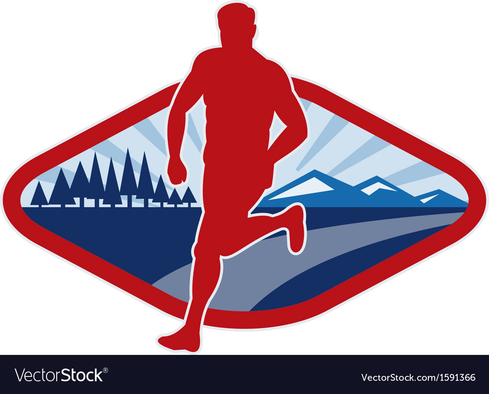 Cross country runner with landscape and sunburst vector image