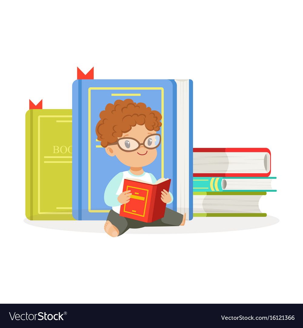Cute redhead boy reading a book next to a pile of vector image