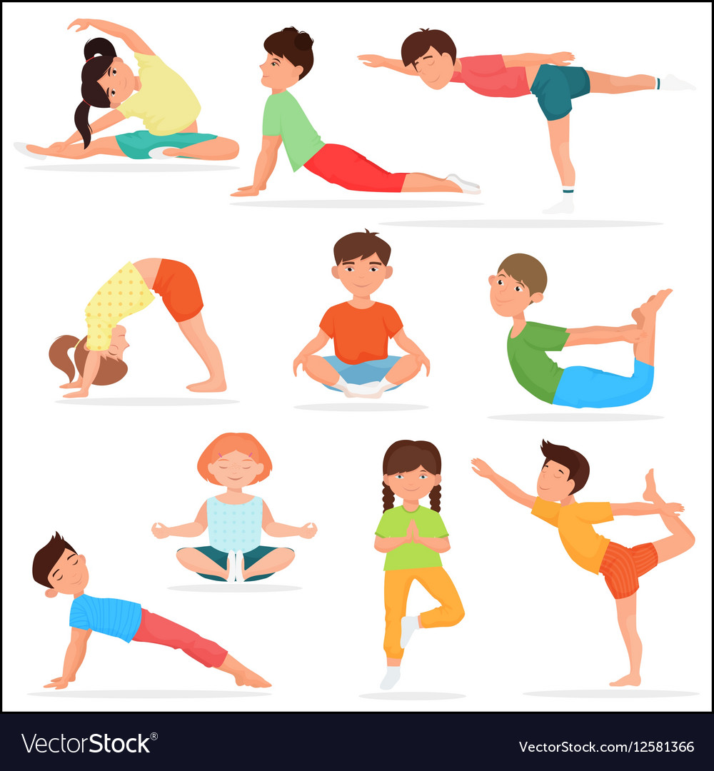 Cute Yoga Kids Set Children Gymnastics Vector Image