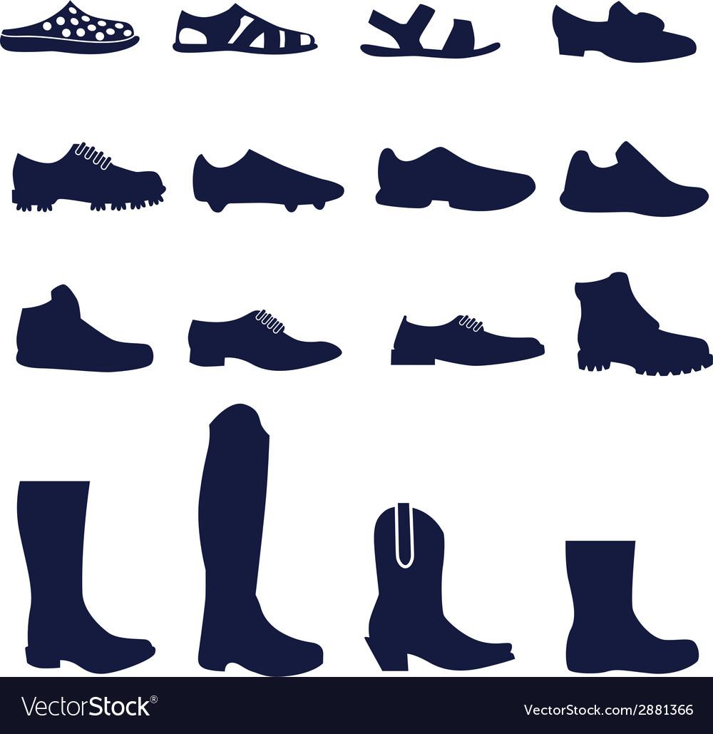 Different types of men footwear vector image