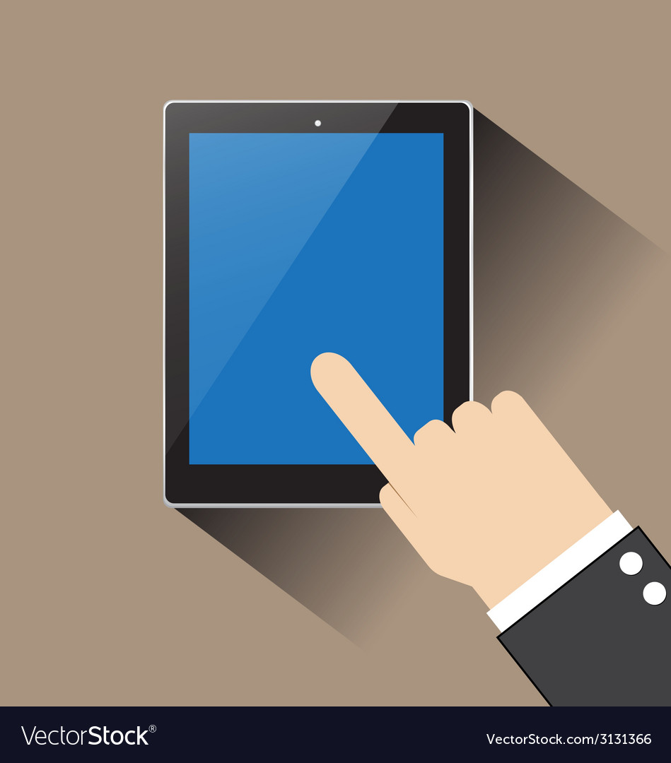 Hand of businessman touching blank screen table