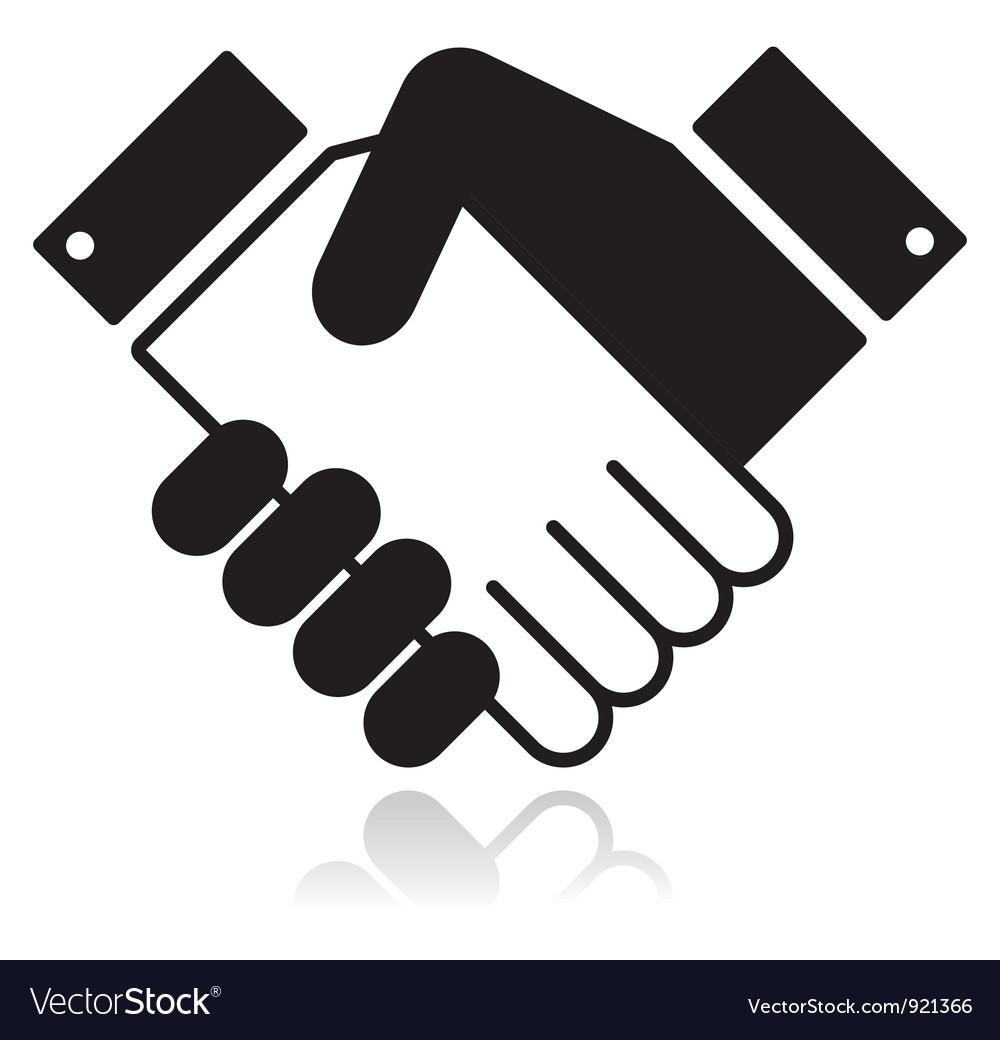 Handshake glossy black icon vector image