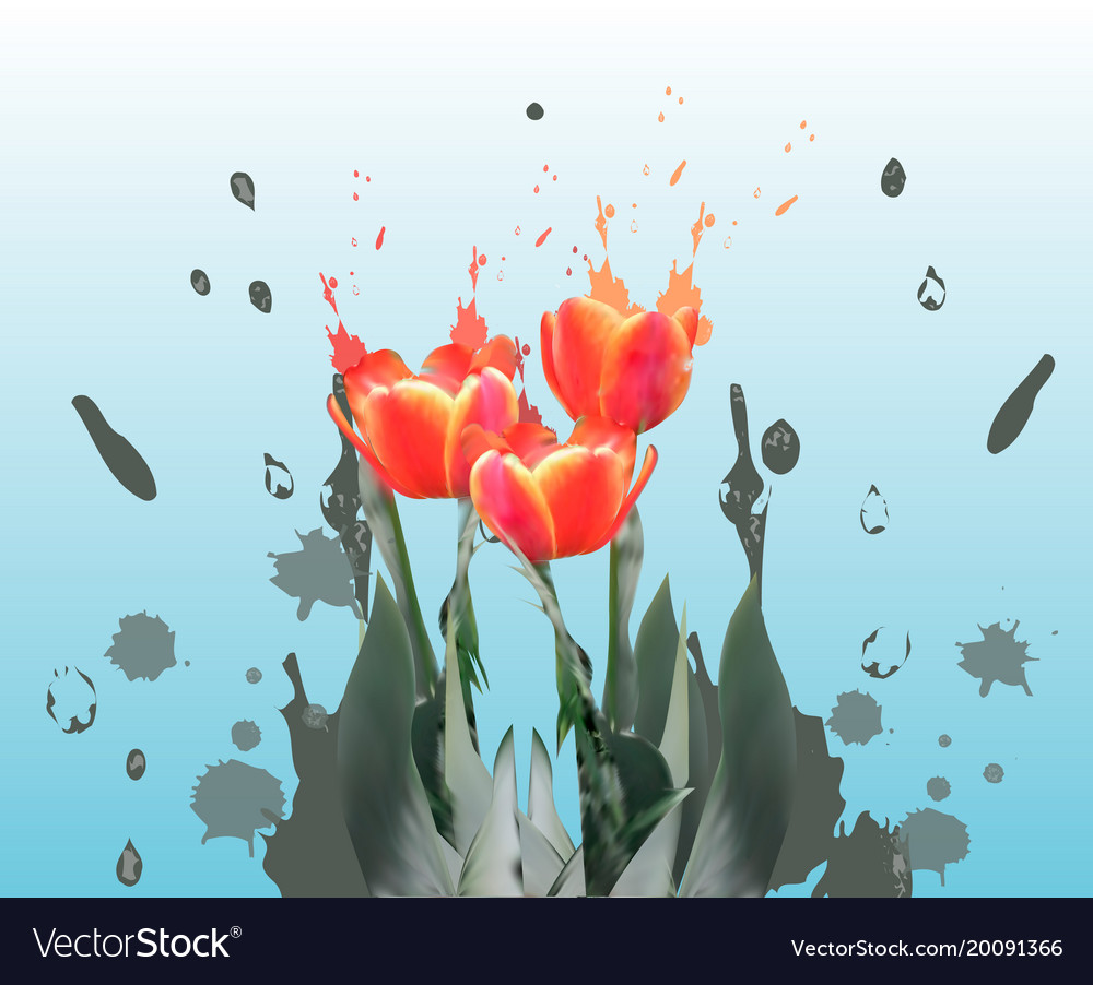 Realistic tulips spring flower card